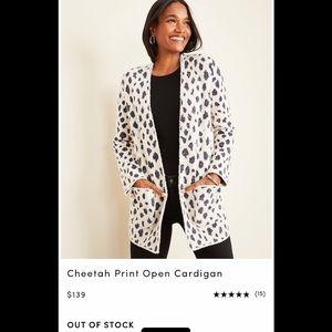 Ann Taylor Cheetah Print Open Cardigan